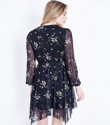 Black Floral Print Mesh Hanky Hem Dress New Look