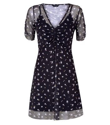 Black Floral Print Mesh Skater Dress New Look