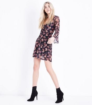 Black Floral Print Wrap Front Mesh Dress New Look