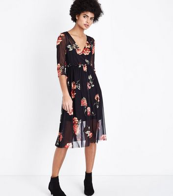 Black Floral Mesh Ribbon Back Midi Dress New Look