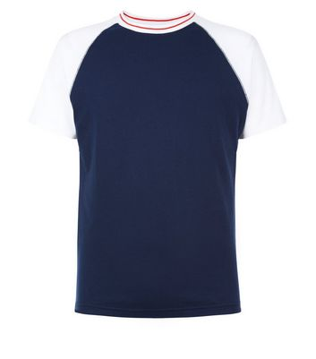 Navy Raglan Sleeve T-Shirt New Look