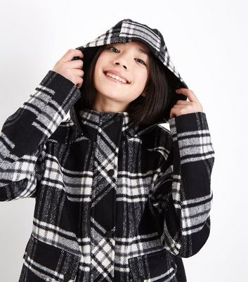 Teens Black Check Hooded Pea Coat New Look