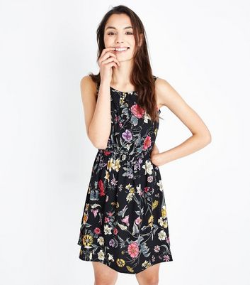 Black Floral Shirred Waist Dress New Look