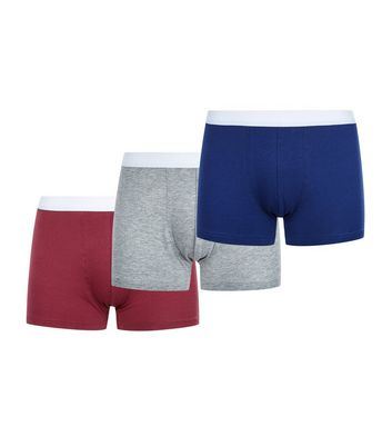 3 Pack Grey Red and Blue Trunks New Look