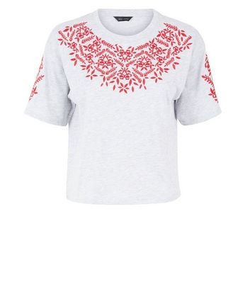 Grey Cross Stitch Embroidered T-Shirt New Look