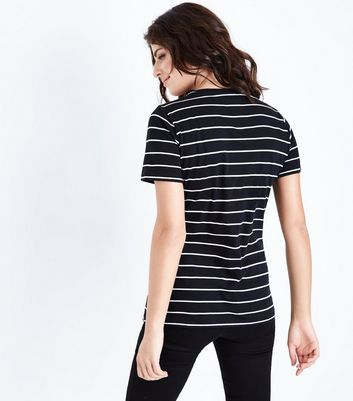 Black Stripe Happy Go Lucky Slogan T-Shirt New Look