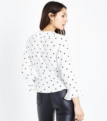 White Polka Dot Frill Trim Wrap Front Top New Look