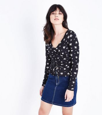Black Floral Polka Dot Print Ruched Front Top New Look
