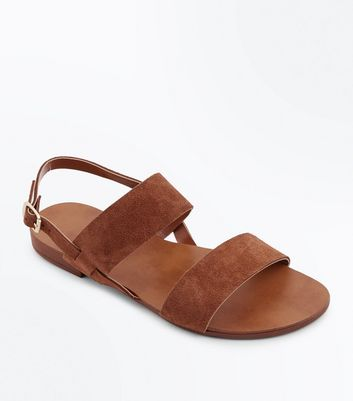 Wide Fit Tan Suede Double Strap Sandals New Look