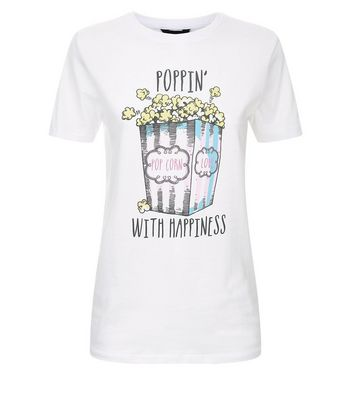 White Popcorn Print T-Shirt New Look