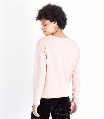 Shell Pink Magnifique Embloidered Sweatshirt New Look