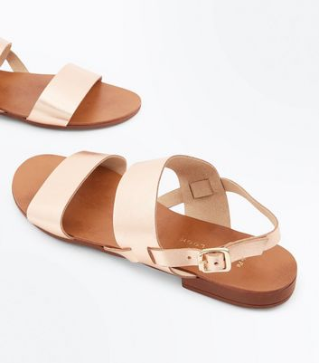 Wide Fit Rose Gold Leather Double Strap Sandals New Look