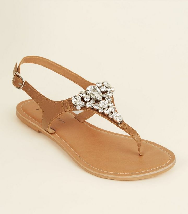 adc393bc2 Wide Fit Tan Leather Gem Strap Flat Sandals