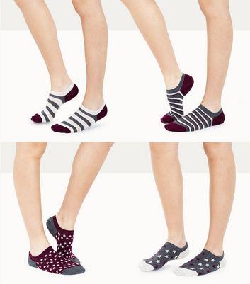 4 Pack Purple Star and Stripe Pattern Ankle Socks New Look