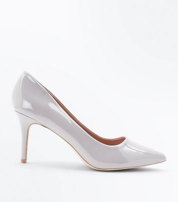 Grey Patent Pointed Court Shoes New Look