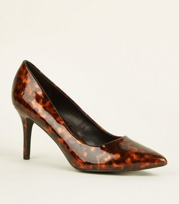 Brown Tortoiseshell Print Patent Pointed Court Shoes