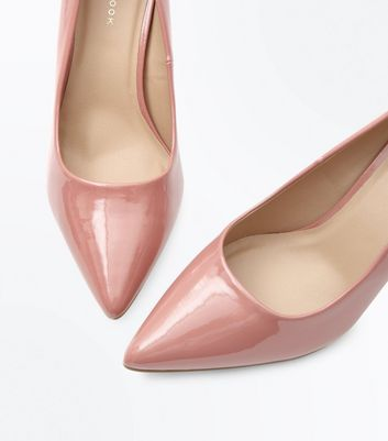 Pink Patent Pointed Court Shoes New Look