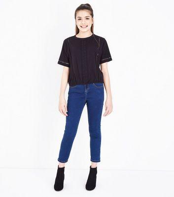 Teens Black Crochet Ladder Insert Top New Look