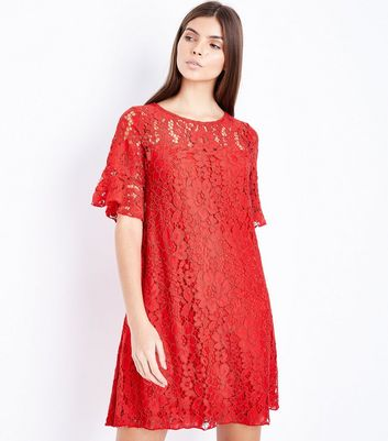 Red Lace Bell Sleeve Swing Dress