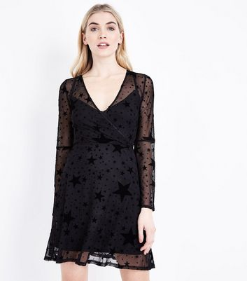 Black Star Mesh Long Sleeve Skater Dress New Look