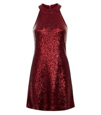 Red Sequin Embellished Swing Dress New Look