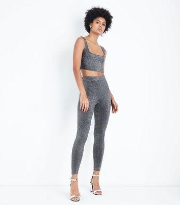 Black Glitter High Waist Leggings New Look