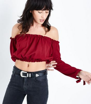 Burgundy Gathered Bardot Neck Crop Top New Look