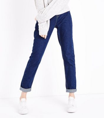 Blue Rinse Wash Turn Up Hem Tori Mom Jeans New Look