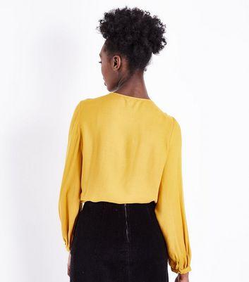 Mustard Circle Lace Trim Smock Top New Look