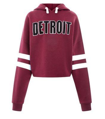 Teens Burgundy Detroit Stripe Sleeve Hoodie New Look