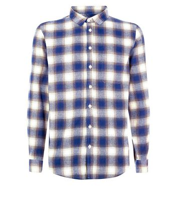 Blue And Cream Check Shirt New Look