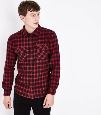 Red Check Long Sleeve Shirt New Look