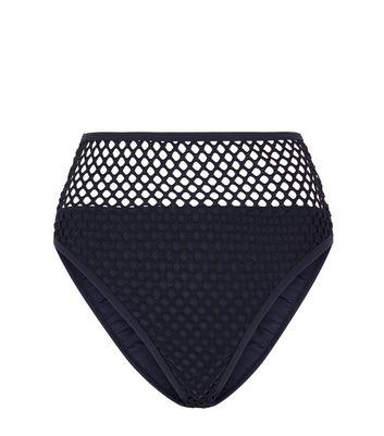 Black Mesh High Waist High Leg Bikini Bottom New Look