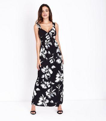 Mela Black Floral Print Maxi Dress New Look