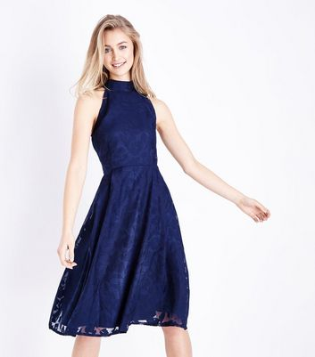 Mela Navy Lace High Neck Prom Dress