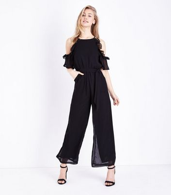 Mela Black Frill Trim Cold Shoulder Jumpsuit