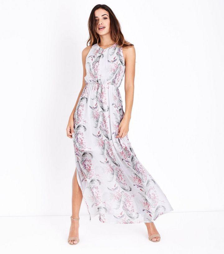 b8a1b1f0169 Mela White Tropical Floral Print Maxi Dress