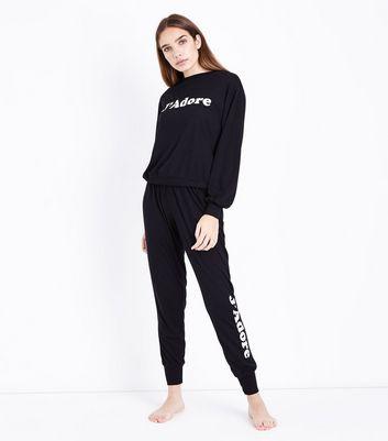 Black J'Adore Slogan Front Pyjama Sweater New Look