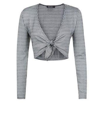 Grey Gingham Tie Front Crop Top New Look