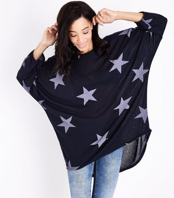 QED Navy Star Print Oversized Tunic Top New Look