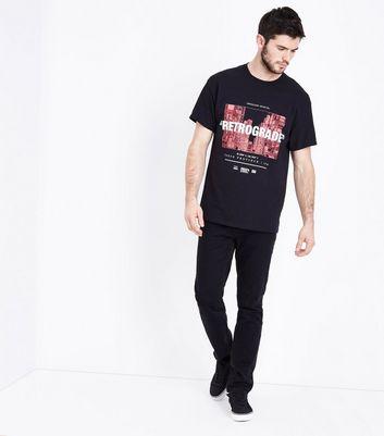 Black Retrograde Printed Front T-Shirt New Look