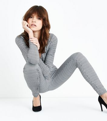 Grey Gingham Leggings New Look