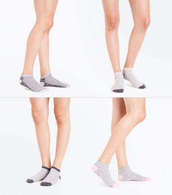 4 Pack Grey Floral and Stripe Pattern Ankle Socks New Look