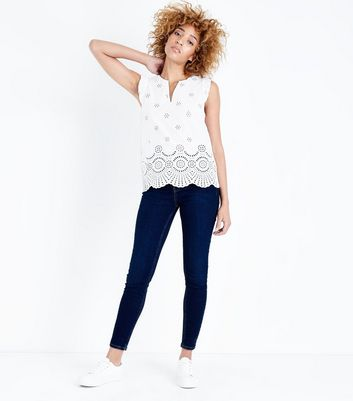 White Broderie Jersey Back Top New Look