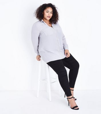 Curves Grey Zip Front Long Sleeve Shirt New Look