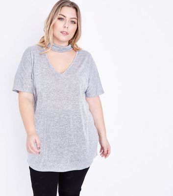 Curves Grey Choker Neck Fine Knit Top New Look