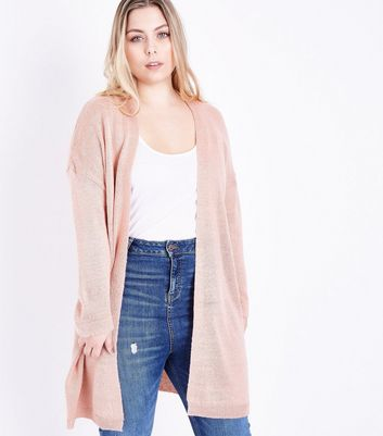 Curves Pink Brushed Knit Longline Cardigan New Look