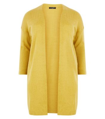 Curves Yellow Brushed Knit Longline Cardigan New Look