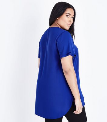 Curves Bright Blue Tiered Sleeve Woven Top New Look