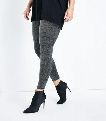 Curves Black Glitter High Waist Leggings New Look